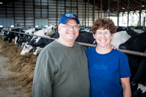 Middle-aged couple stands in a barn, with cows eating in the background.