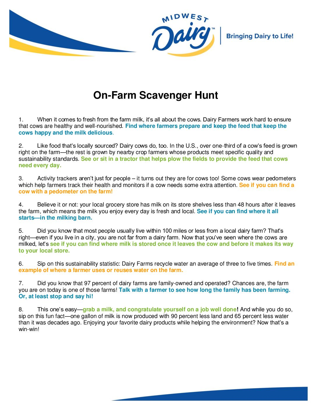 Scavenger Hunt – Midwest Dairy